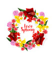 spring flowers bouquet or floral wreath vector image