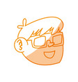 Silhouette nice boy face using 3d glasses vector image