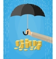 Hand holding umbrella to protect money vector image