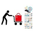 Passenger Trolley Icon with 2017 Year Bonus vector image