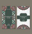set of business cards vintage pattern in retro vector image