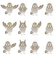 Set of flat grey owl icons vector image