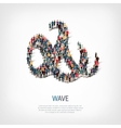 wave people sign 3d vector image