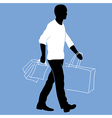 man with shopping bags vector image vector image