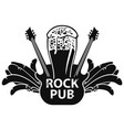 banner for rock pub with guitar and beer vector image vector image