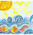 Sea sun fishes pattern vector image vector image