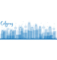 Outline Calgary Skyline with Blue Buildings vector image