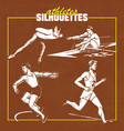 athletes silhuettes and sport poses vector image