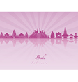 Bali skyline in purple radiant orchid vector image