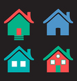 Colorful flat icons Homes isolated on black vector image