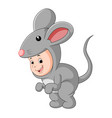 cute baby wearing a mouse suit vector image