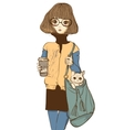 cute girl with cat and coffee vector image