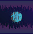 digital planet with sound or radio wave equalizer vector image