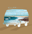 double exposure surf trip concept summer surfing vector image