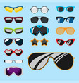 fashion set sunglasses accessory sun spectacles vector image
