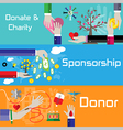 Flat style charity sponsorship and donor banners vector image