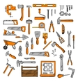 Sketched tools for building carpentry shoemaking vector image