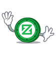 Waving zcoin character cartoon style vector image