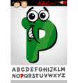 funny letter p cartoon vector image