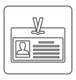 identification card icon outline vector image