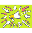 arrows point to icon of megaphone on gree vector image