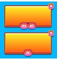 Orange game interface panels ui buttons vector image