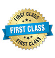 first class 3d gold badge with blue ribbon vector image