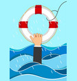 business man drowns holding lifebuoy in waves vector image