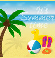 greeting card with lettering summer vacation vector image