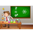 Science teacher experimenting in classroom vector image
