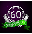 Sixty years anniversary celebration with silver vector image