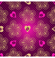 Valentine seamless dotted purple pattern with hear vector