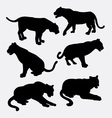 Tiger and panther wild animal silhouette vector image