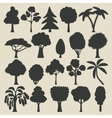 Trees silhouette icons set vector image