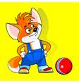 cartoon fox standing with hands on hips vector image vector image
