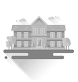 Flat houses trendy set of buildings icons isolated vector image