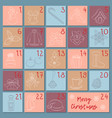 Advent retro style calendar sketch christmas vector image