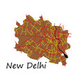 new delhi map flat style design - vector image
