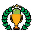 tennis trophy ball wreath award sport vector image