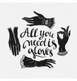 Funny poster with stylish lettering All you need vector image
