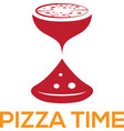 pizza time design template with sandglass vector image