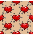 Seamless pattern of hearts studded with nails vector image vector image