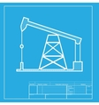 Oil drilling rig sign White section of icon on vector image