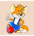 cartoon fox with a ball showing thumb up vector image