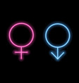 gender symbols in neon style neon silhouette vector image