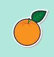 orange sticker on blue background colorful fruit vector image