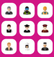set of 9 editable job flat icons includes symbols vector image