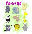Set of cute cartoon animals in kawaii style vector image