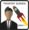 Transport business flat design with a person and a vector image
