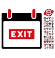 Exit Caption Calendar Day Flat Icon With vector image
